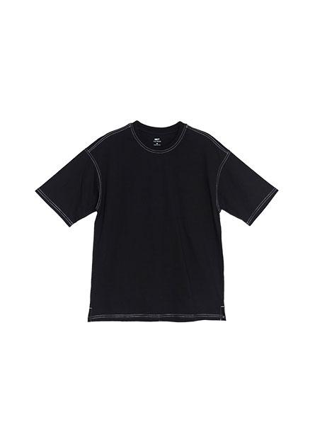 素面明線紋落肩T恤