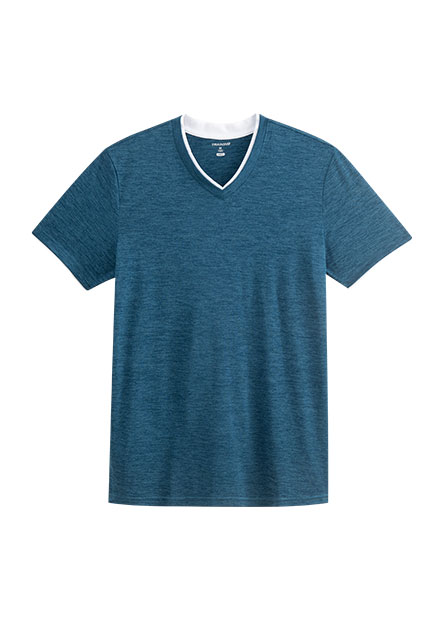 假兩件撞色V領T恤