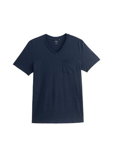 單口袋V領T恤