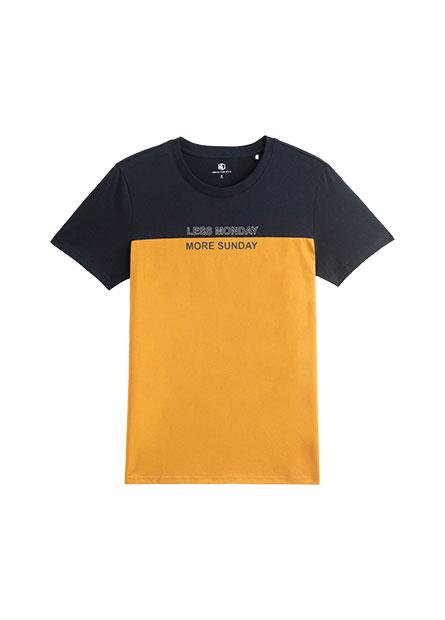 撞色拼接印字T恤