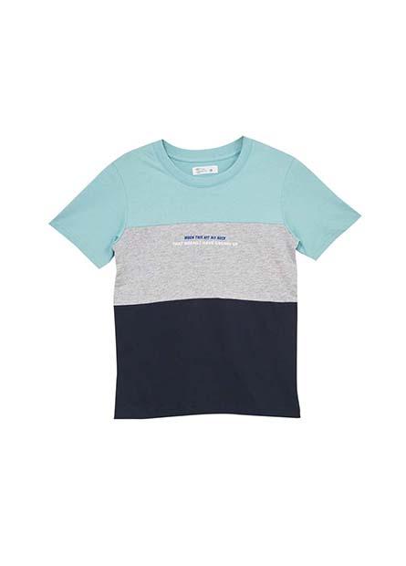 男童色塊拼接印花T恤