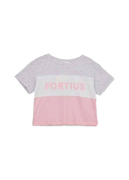女童剪接短版印花T恤