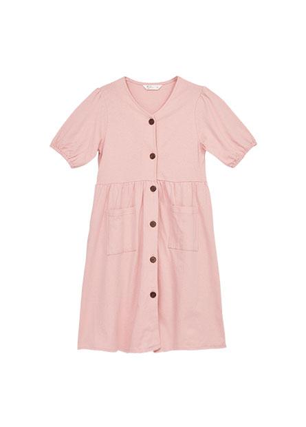 女童澎袖排釦洋裝