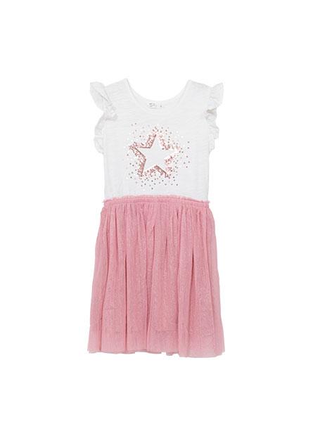 女童荷葉袖網紗洋裝