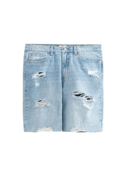 Slim Fit刷破牛仔短褲