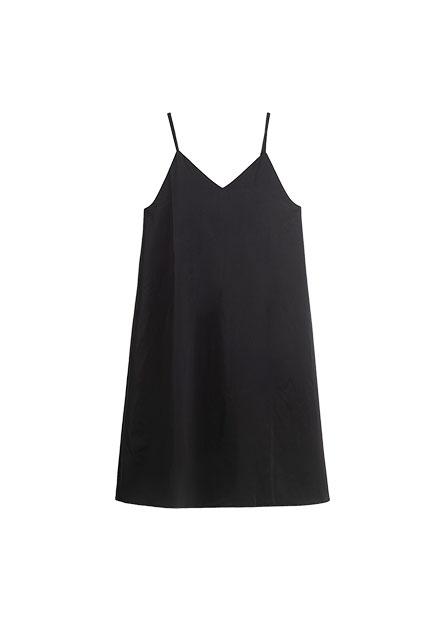 微光澤細肩帶V領洋裝