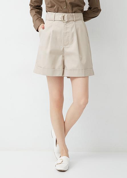 高腰打褶短褲(附腰帶)