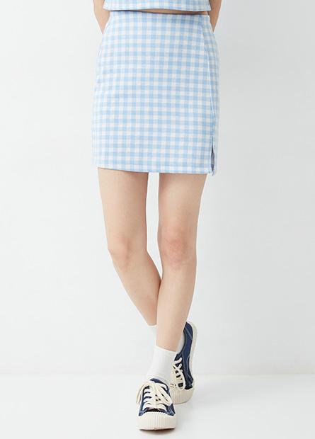 鬆緊格紋開衩短裙