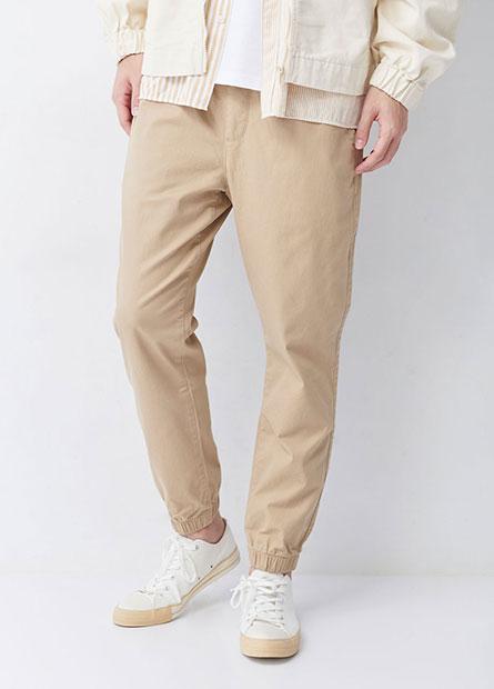 素色鬆緊綁帶束口褲