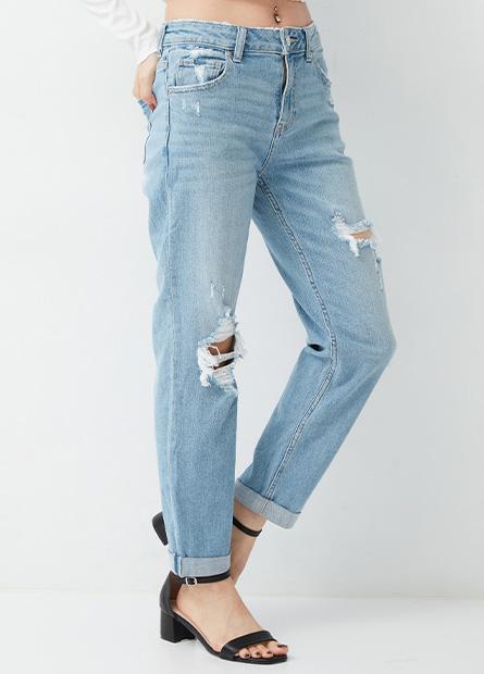 割破錐形牛仔褲