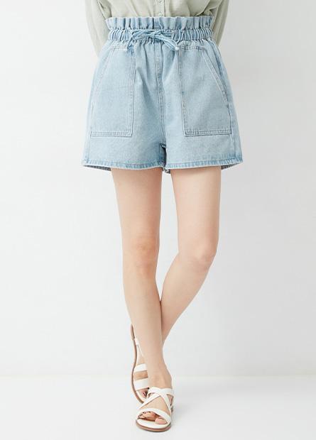 花苞鬆緊牛仔短褲