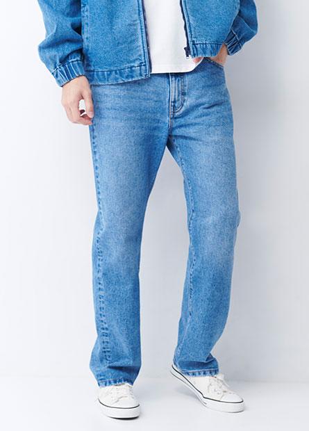 Regular Fit刷色牛仔褲