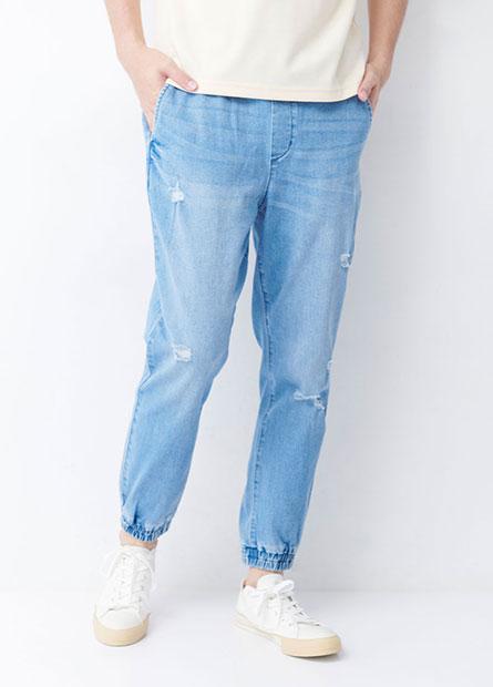 Regular Fit磨破束口牛仔褲
