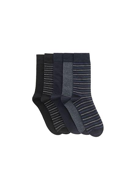 男基本中筒襪(五入)