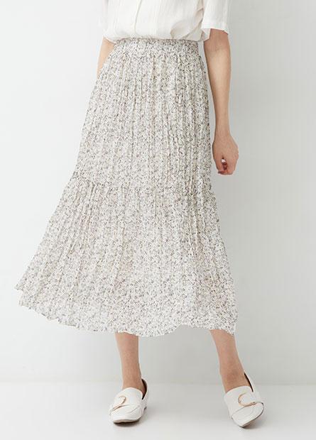 鬆緊壓皺雪紡長裙