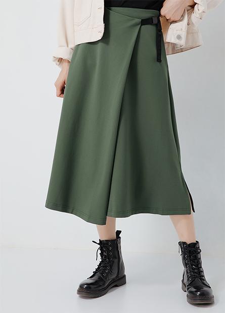 側釦A字鬆緊長裙