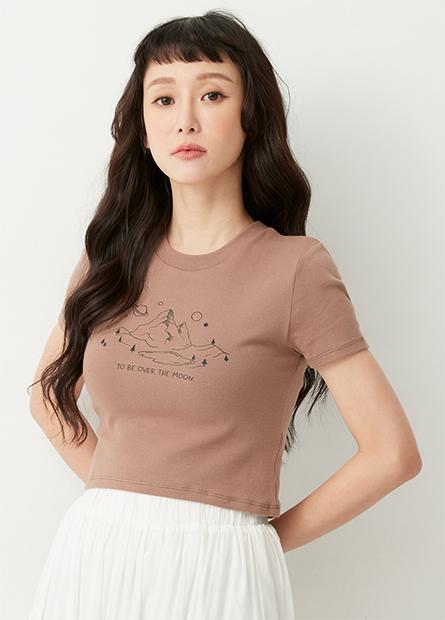 印花合身短版T恤