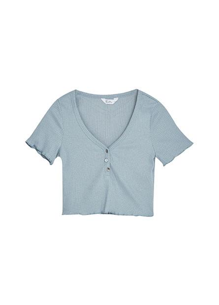 木耳邊羅紋開釦短版上衣