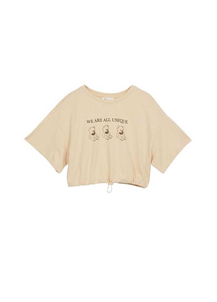 熊熊印花抽繩短版T恤