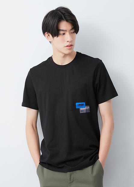 口袋拼布寬鬆T恤