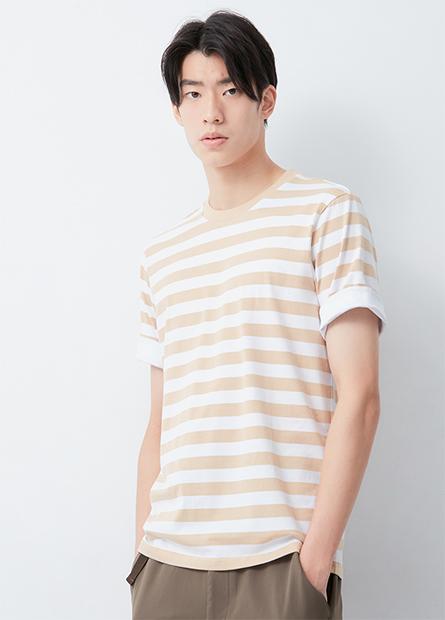 條紋反摺袖棉彈T恤