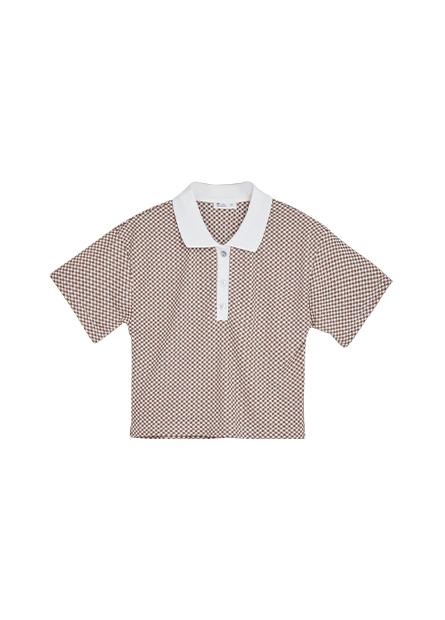 格紋貝殼釦POLO短版上衣