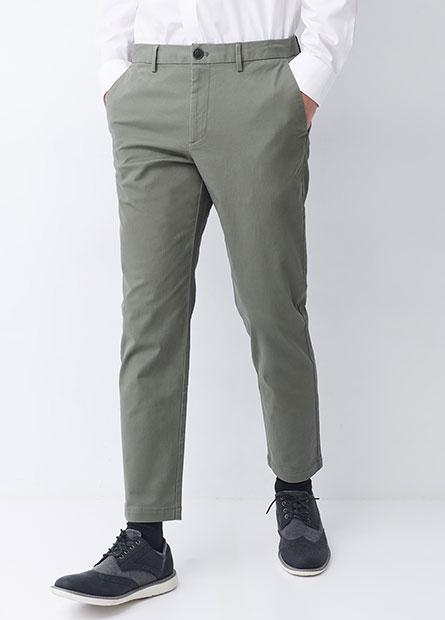 Slim Fit彈性斜紋九分褲