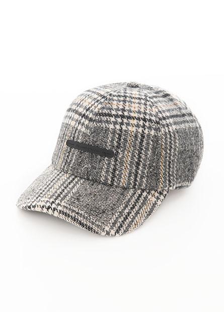 毛呢千鳥格棒球帽