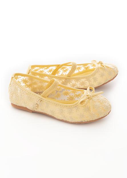 女童繡花網布平底鞋