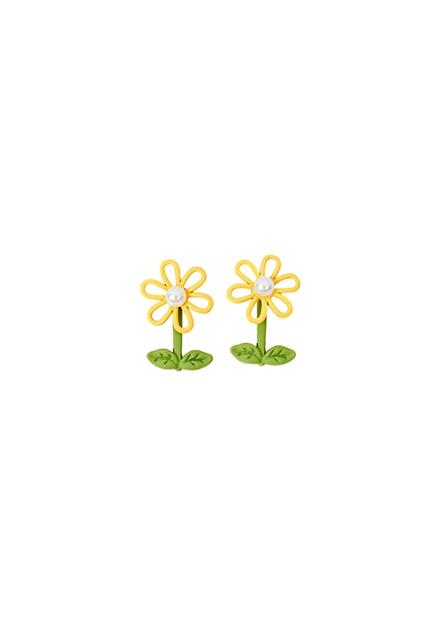 小花珍珠耳環