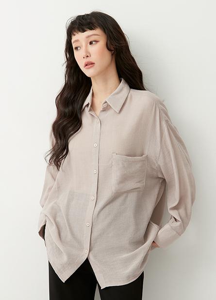 單口袋微透膚襯衫