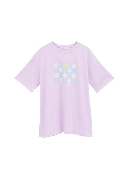花朵印花寬鬆反摺袖T恤