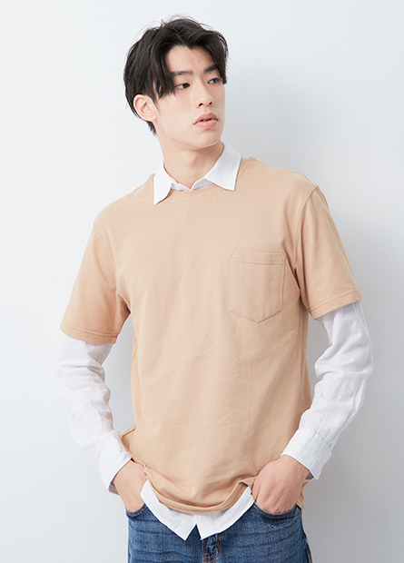 口袋寬版圓領T恤