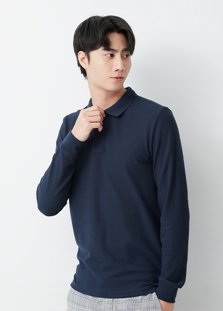 素色長袖POLO衫
