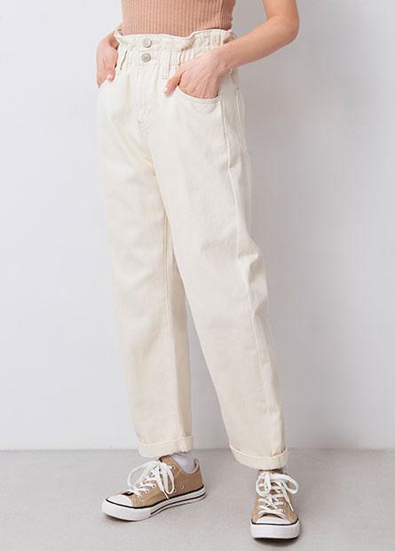 鬆緊花苞錐形牛仔褲