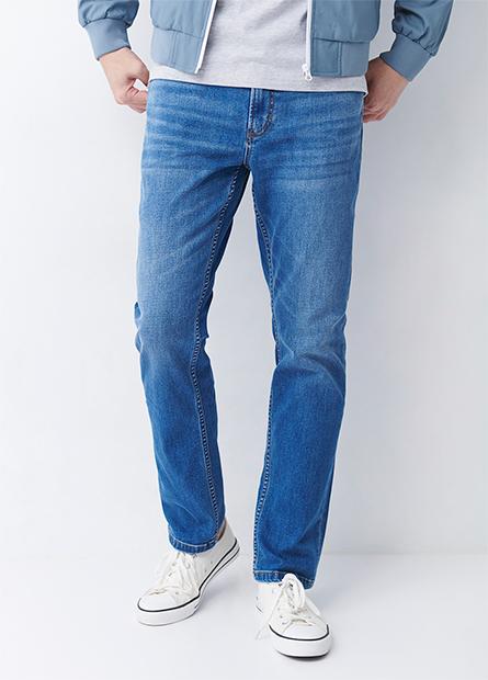 Slim Fit直筒保暖牛仔褲
