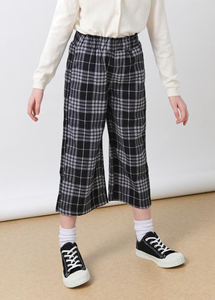 女童鬆緊格紋寬褲