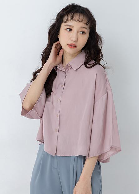 素色寬版短袖襯衫