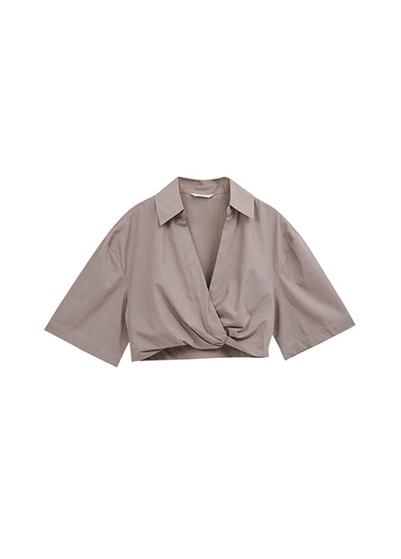 圍裹式短版襯衫