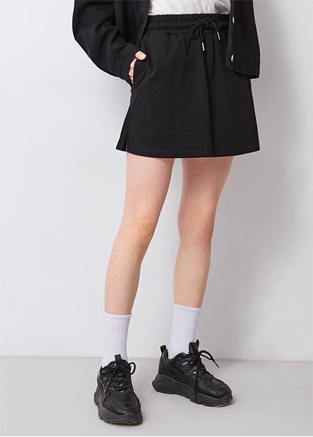 鬆緊綁帶棉質開衩短裙