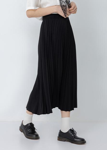 鬆緊百褶長裙