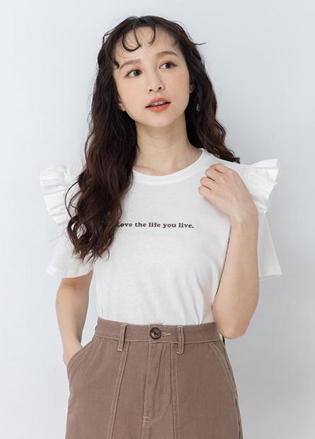 異材質荷葉袖印字T恤