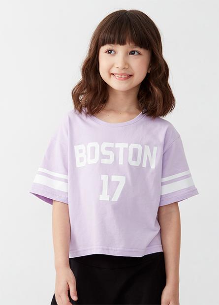 女童波士頓印花上衣