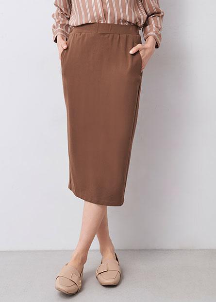 素色鬆緊合身窄裙