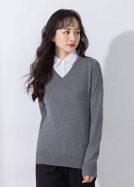 拼接襯衫領毛衣上衣