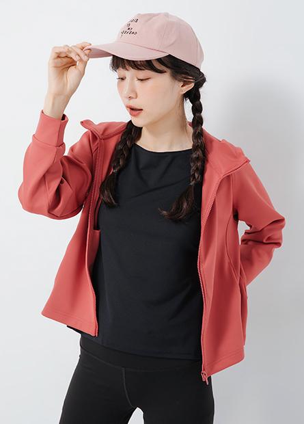 素色機能立領連帽外套