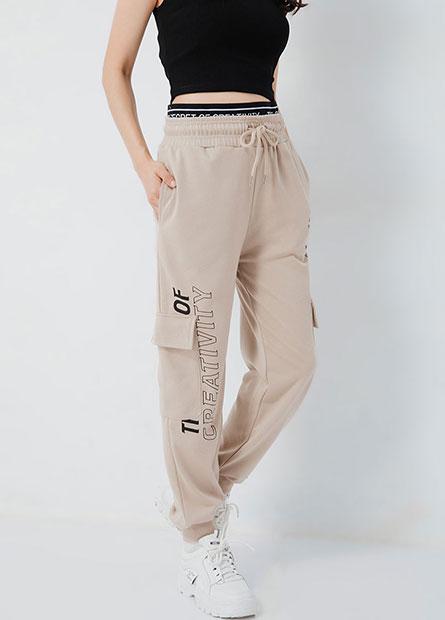 假兩件織帶棉質工作束口褲