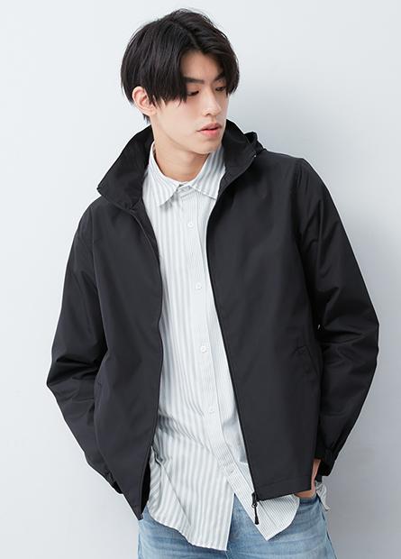 單層立領連帽夾克外套