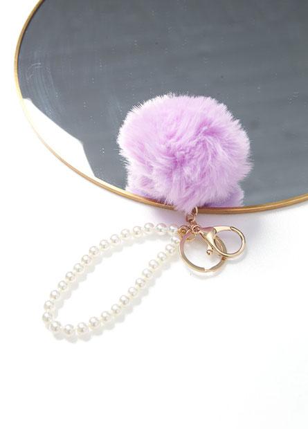 珍珠毛球鑰匙圈