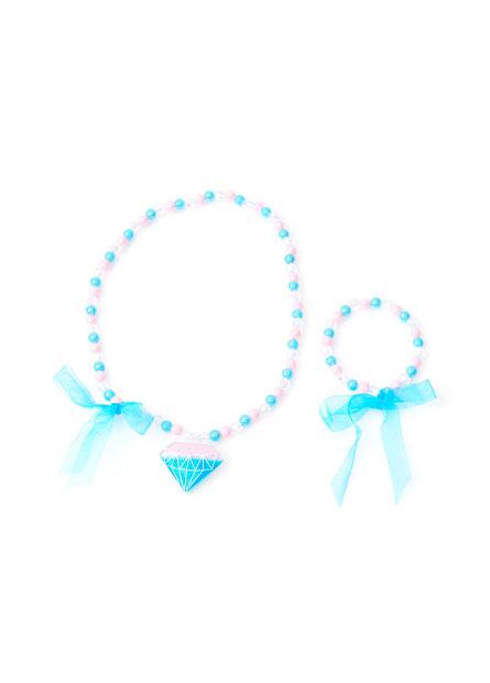 女童閃亮珠珠項鍊手鍊組